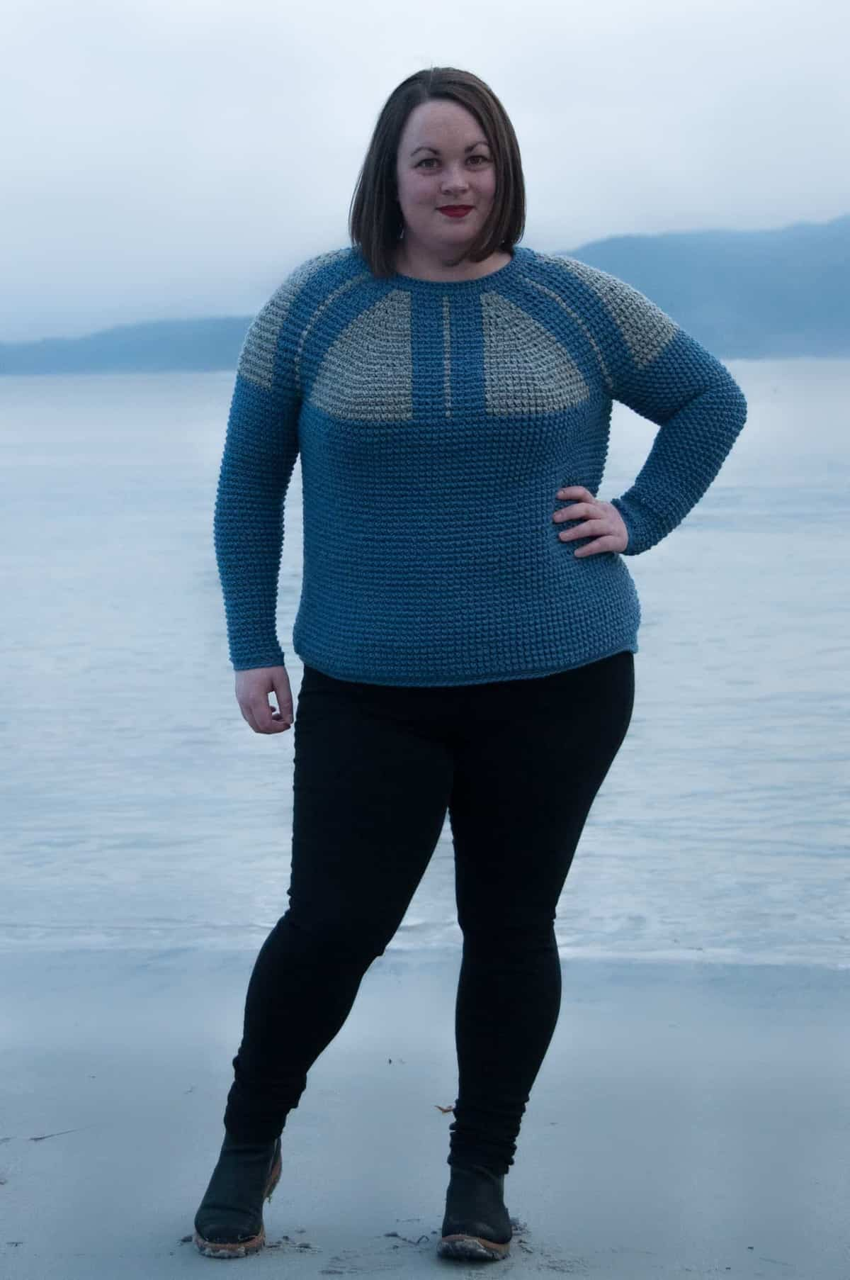 top down nordic sweater - free crochet pattern