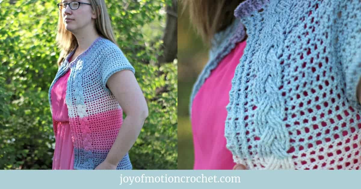 Filet Cabled Cardigan Free Crochet Pattern